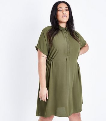 Curves Khaki Toggle Waist Shirt Dress