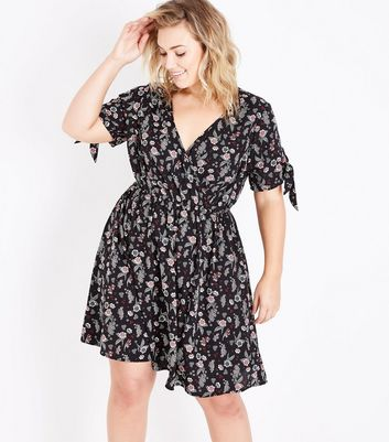 Curves Black Floral Tie Sleeve Wrap Dress
