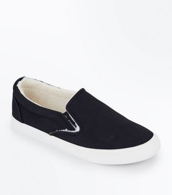 Black Faux Shearling Lined Slip On Trainers