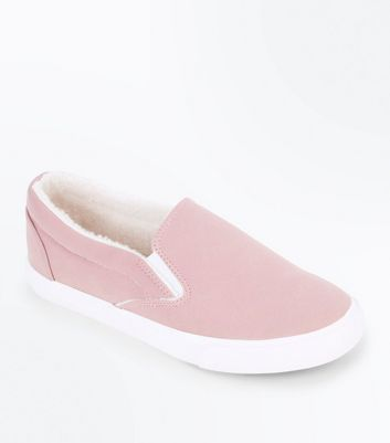 Pink Faux Shearling Lined Slip On Trainers