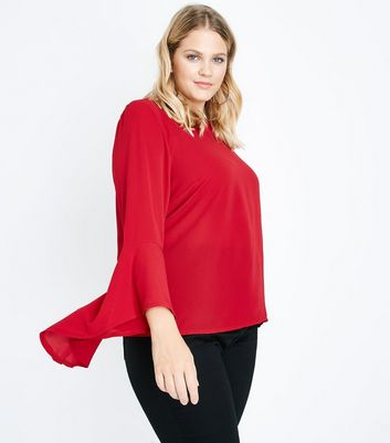 Curves Red Flare Sleeve Top