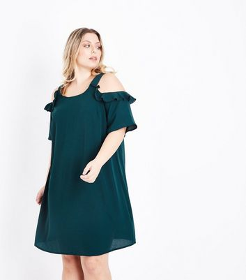 Curves Dark Green Frill Trim Cold Shoulder Dress