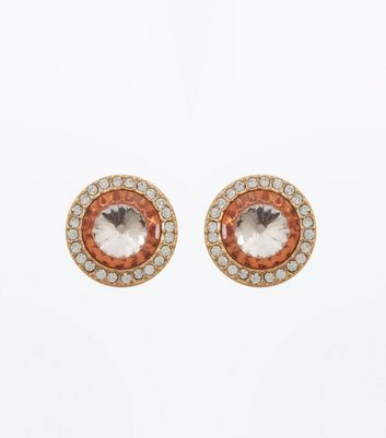 Gold Stone Embellished Stud Earrings