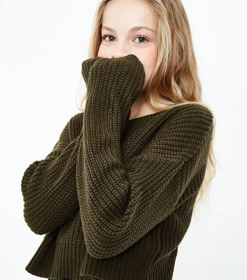 Teens Khaki Oversized Cropped Jumper
