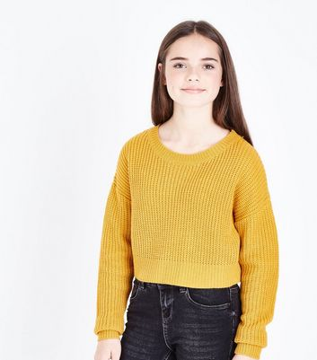 Teens Mustard Oversized Cropped Jumper