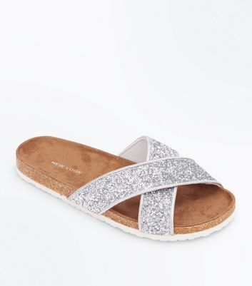Silver Glitter Cross Strap Sliders