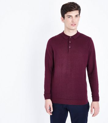 Burgundy Long Sleeve Polo Neck Shirt