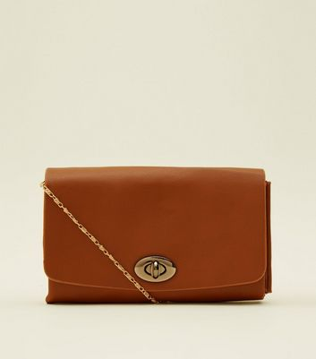 Tan Twist Lock Cross Body Bag