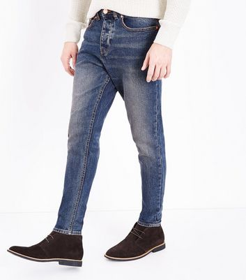 Bright Blue Vintage Wash Tapered Jeans