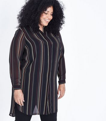 Curves Black Stripe Longline Chiffon Shirt