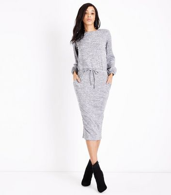 Tall Grey Fine Knit Drawstring Waist Tunic Dress