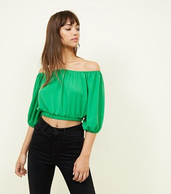 Cameo Rose Green Balloon Sleeve Crop Top