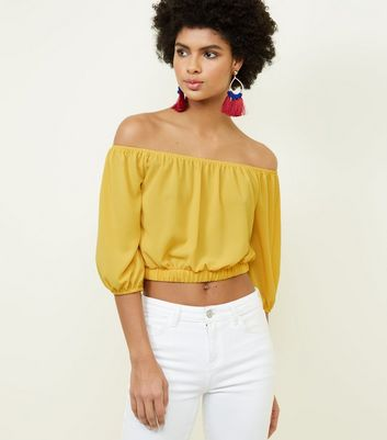 Cameo Rose Yellow Balloon Sleeve Crop Top