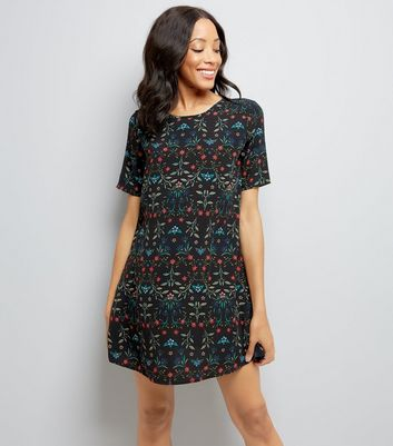 Apricot Black Floral Print Shift Dress