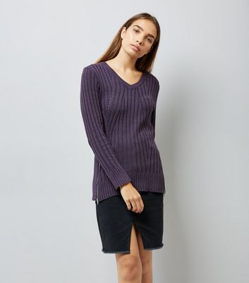 Apricot Purple Zip Hem Ribbed Jumper