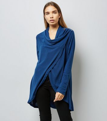 Apricot Navy Zip Shoulder Wrap Cardigan
