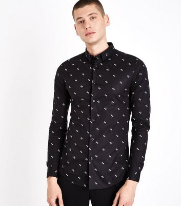 Black Paisley Print Muscle Fit Shirt
