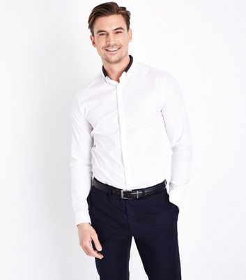White Double Collar Trim Shirt