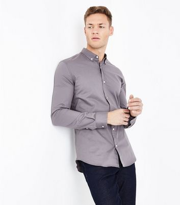 Grey Muscle Fit Stretch Shirt