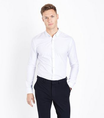 White Muscle Fit Stretch Shirt
