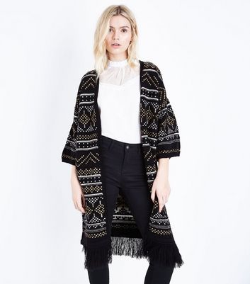 Tall Black Aztec Knit Fringe Hem Cardigan