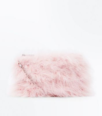 Nude Faux Feather Chain Shoulder Bag