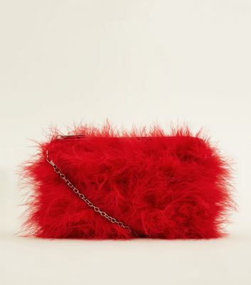 Red Faux Feather Chain Shoulder Bag