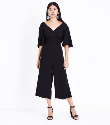 Petite Black Angel Sleeve Culotte Jumpsuit