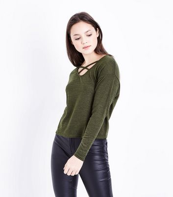 Teens Khaki Lattice Front Top