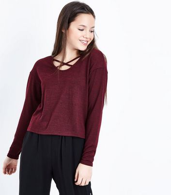 Teens Burgundy Lattice Front Top
