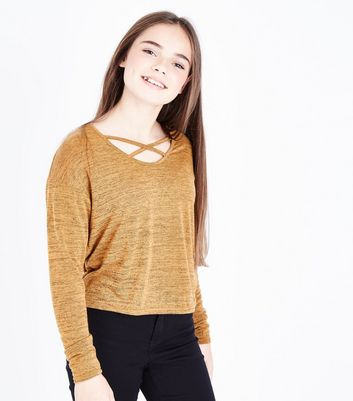 Teens Mustard Lattice Neck Fine Knit Top