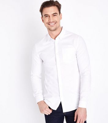 Chemise Oxford stretch blanche Muscle Fit