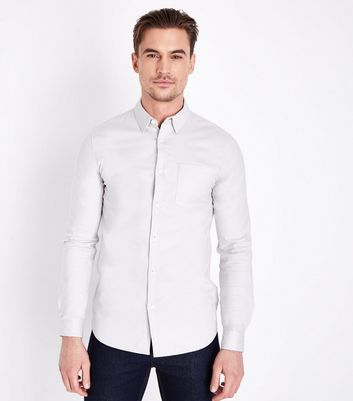 Cream Muscle Fit Stretch Oxford Shirt