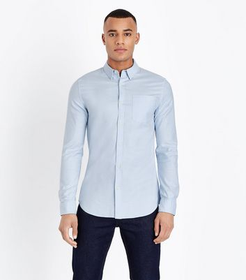 Pale Blue Muscle Fit Stretch Oxford Shirt