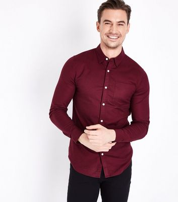 Muscle Fit - Chemise Oxford stretch bordeaux