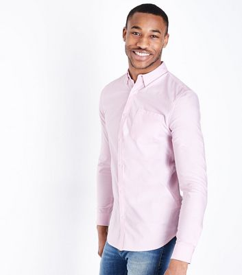 Pink Muscle Fit Stretch Oxford Shirt