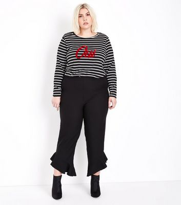 Curves Black Frill Hem Cropped Trousers