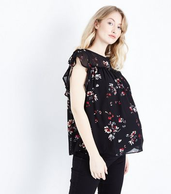 Maternity Black Floral Frill Sleeve Blouse