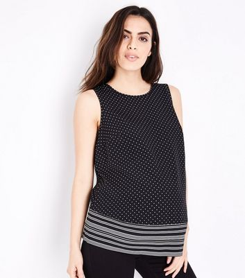 Maternity Black Polka Dot Stripe Border Print Top