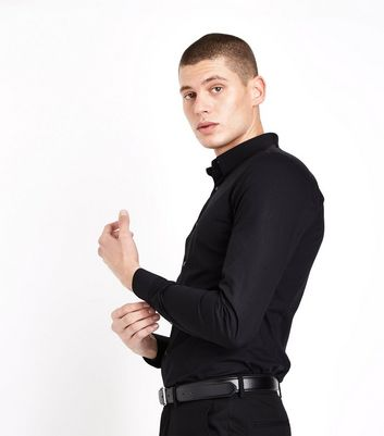 Black Muscle Fit Stretch Shirt