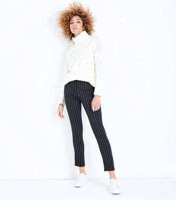 Black Pinstripe Slim Leg Trousers