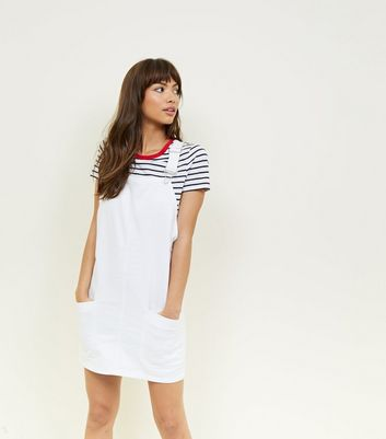 White Denim Pinafore Dress by New Look