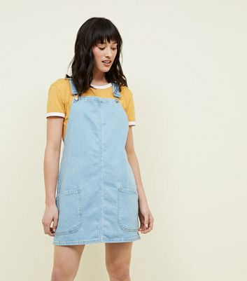 Blue Light Wash Denim Pinafore Dress
