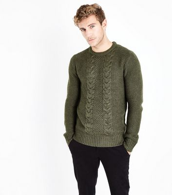 Khaki Cable Knit Jumper
