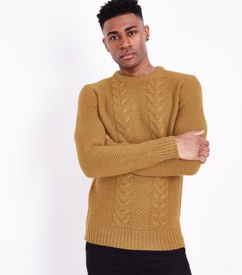 Yellow Cable Knit Crew Neck Sweater