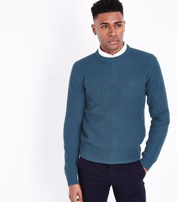 Blue Waffle Knit Crew Neck Jumper