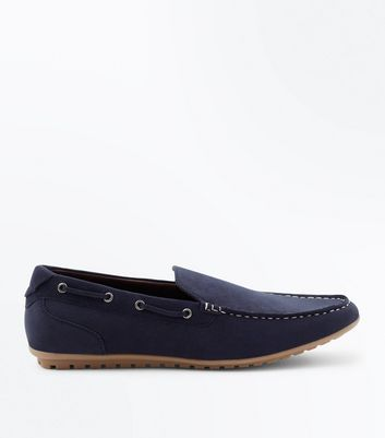 Marineblaue Loafers in Wildleder-Optik