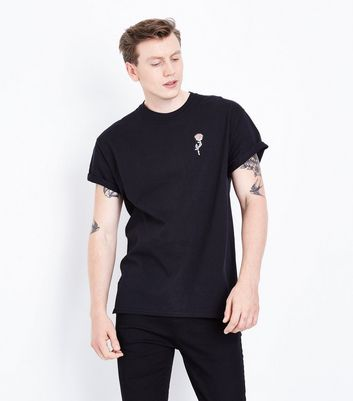 Black Embroidered Rose T-Shirt