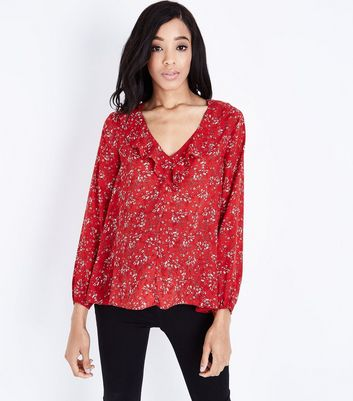 Maternity Red Floral Frill Trim Blouse