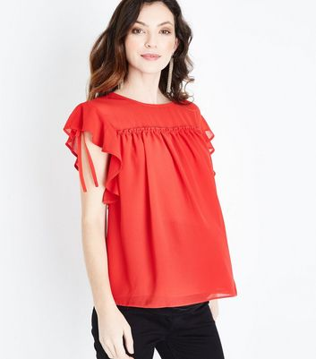 Maternity Red Ruched Frill Sleeve Top